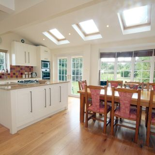 engineered hardwood oak flooring from JFJ for a modern open plan kitchen