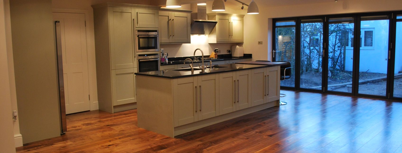 stunning open plan kitchen wood floor