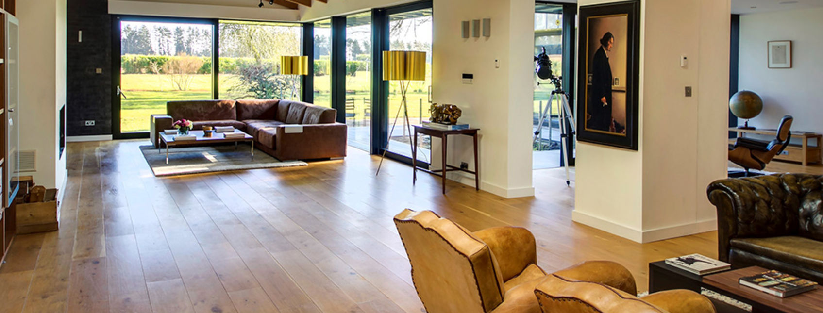 Stunning oak flooring in living area