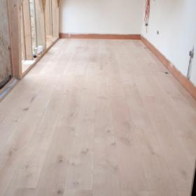 Oak engineered flooring before treatment in Leicestershire